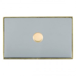 Hamilton Linea-Duo CFX Polished Brass/Bright Steel Push On/Off Dimmer 1 Gang 2 way 1000W with Polished Br...