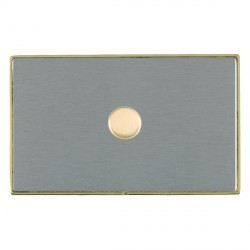 Hamilton Linea-Duo CFX Polished Brass/Satin Steel Push On/Off Dimmer 1 Gang 2 way 1000W with Polished Bra...