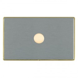 Hamilton Linea-Duo CFX Satin Brass/Satin Steel Push On/Off Dimmer 1 Gang 2 way 1000W with Satin Brass Ins...