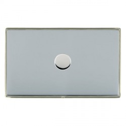 Hamilton Linea-Duo CFX Satin Nickel/Bright Steel Push On/Off Dimmer 1 Gang 2 way 1000W with Satin Steel I...