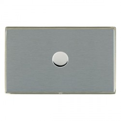 Hamilton Linea-Duo CFX Satin Nickel/Satin Steel Push On/Off Dimmer 1 Gang 2 way 1000W with Satin Steel In...