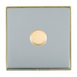 Hamilton Linea-Duo CFX Polished Brass/Bright Steel Push On/Off Dimmer 1 Gang 2 way 200VA Inductive with P...