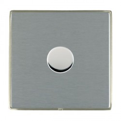 Hamilton Linea-Duo CFX Satin Nickel/Satin Steel Push On/Off 400W Dimmer 1 Gang 2 way with Satin Steel Insert