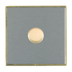 Hamilton Linea-Duo CFX Polished Brass/Satin Steel Push On/Off 600W Dimmer 1 Gang 2 way with Polished Bras...