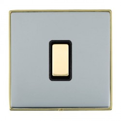 Hamilton Linea-Duo CFX Polished Brass/Bright Steel 1 Gang Multi way Touch Slave Trailing Edge with Black ...