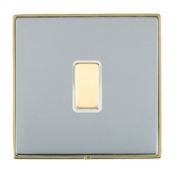 Hamilton Linea-Duo CFX Polished Brass/Bright Steel 1 Gang Multi way Touch Slave Trailing Edge with White ...