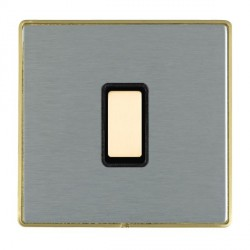 Hamilton Linea-Duo CFX Satin Brass/Satin Steel 1 Gang Multi way Touch Slave Trailing Edge with Black Inse...