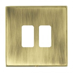 Hamilton Linea-Duo CFX Polished Brass/Antique Brass 2 Gang Grid Fix Aperture Plate with Grid