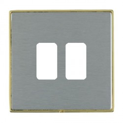 Hamilton Linea-Duo CFX Polished Brass/Satin Steel 2 Gang Grid Fix Aperture Plate with Grid