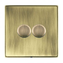 Hamilton Linea-Duo CFX Antique Brass/Antique Brass Push On/Off 400W Dimmer 2 Gang 2 way with Antique Bras...