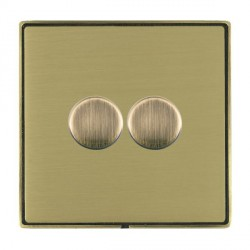 Hamilton Linea-Duo CFX Antique Brass/Satin Brass Push On/Off 400W Dimmer 2 Gang 2 way with Antique Brass Insert