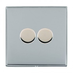 Hamilton Linea-Duo CFX Bright Chrome/Bright Chrome Push On/Off 400W Dimmer 2 Gang 2 way with Bright Chrome Insert