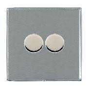 Hamilton Linea-Duo CFX Bright Chrome/Satin Steel Push On/Off 400W Dimmer 2 Gang 2 way with Bright Chrome Insert