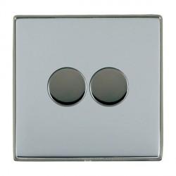 Hamilton Linea-Duo CFX Black Nickel/Bright Steel Push On/Off 400W Dimmer 2 Gang 2 way with Black Nickel Insert