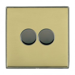 Hamilton Linea-Duo CFX Black Nickel/Polished Brass Push On/Off 400W Dimmer 2 Gang 2 way with Black Nickel Insert