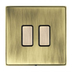 Hamilton Linea-Duo CFX Antique Brass/Antique Brass 2 Gang Multi way Touch Master Trailing Edge with Black Insert