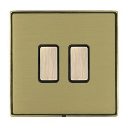 Hamilton Linea-Duo CFX Antique Brass/Satin Brass 2 Gang Multi way Touch Master Trailing Edge with Black Insert