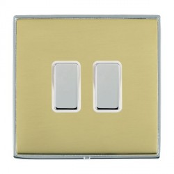 Hamilton Linea-Duo CFX Bright Chrome/Polished Brass 2 Gang Multi way Touch Master Trailing Edge with Whit...