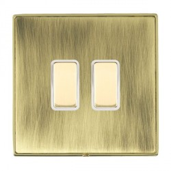 Hamilton Linea-Duo CFX Polished Brass/Antique Brass 2 Gang Multi way Touch Master Trailing Edge with Whit...