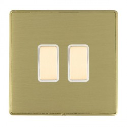 Hamilton Linea-Duo CFX Satin Brass/Satin Brass 2 Gang Multi way Touch Master Trailing Edge with White Ins...