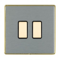 Hamilton Linea-Duo CFX Satin Brass/Satin Steel 2 Gang Multi way Touch Master Trailing Edge with Black Ins...