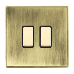 Hamilton Linea-Duo CFX Polished Brass/Antique Brass 2 Gang Multi way Touch Slave Trailing Edge with Black Insert