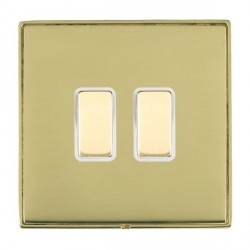 Hamilton Linea-Duo CFX Polished Brass/Polished Brass 2 Gang Multi way Touch Slave Trailing Edge with Whit...