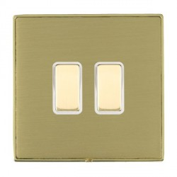 Hamilton Linea-Duo CFX Polished Brass/Satin Brass 2 Gang Multi way Touch Slave Trailing Edge with White I...