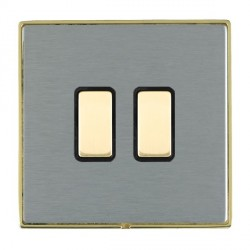 Hamilton Linea-Duo CFX Polished Brass/Satin Steel 2 Gang Multi way Touch Slave Trailing Edge with Black I...