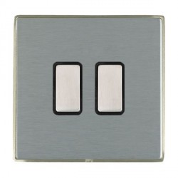 Hamilton Linea-Duo CFX Satin Nickel/Satin Steel 2 Gang Multi way Touch Slave Trailing Edge with Black Ins...