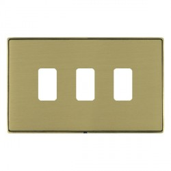 Hamilton Linea-Duo CFX Antique Brass/Satin Brass 3 Gang Grid Fix Aperture Plate with Grid