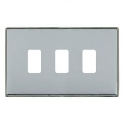 Hamilton Linea-Duo CFX Black Nickel/Bright Steel 3 Gang Grid Fix Aperture Plate with Grid