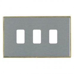 Hamilton Linea-Duo CFX Polished Brass/Satin Steel 3 Gang Grid Fix Aperture Plate with Grid