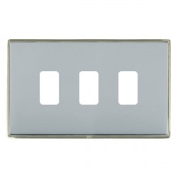 Hamilton Linea-Duo CFX Satin Nickel/Bright Steel 3 Gang Grid Fix Aperture Plate with Grid