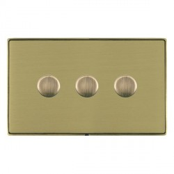 Hamilton Linea-Duo CFX Antique Brass/Satin Brass Push On/Off 400W Dimmer 3 Gang 2 way with Antique Brass Insert