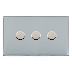 Hamilton Linea-Duo CFX Bright Chrome/Bright Chrome Push On/Off 400W Dimmer 3 Gang 2 way with Bright Chrome Insert