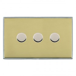 Hamilton Linea-Duo CFX Bright Chrome/Polished Brass Push On/Off 400W Dimmer 3 Gang 2 way with Bright Chrome Insert