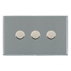 Hamilton Linea-Duo CFX Bright Chrome/Satin Steel Push On/Off 400W Dimmer 3 Gang 2 way with Bright Chrome Insert