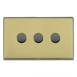 Hamilton Linea-Duo CFX Black Nickel/Polished Brass Push On/Off 400W Dimmer 3 Gang 2 way with Black Nickel Insert