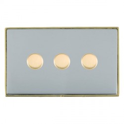 Hamilton Linea-Duo CFX Polished Brass/Bright Steel Push On/Off 400W Dimmer 3 Gang 2 way with Polished Brass Insert
