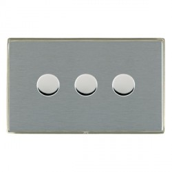 Hamilton Linea-Duo CFX Satin Nickel/Satin Steel Push On/Off 400W Dimmer 3 Gang 2 way with Satin Steel Insert