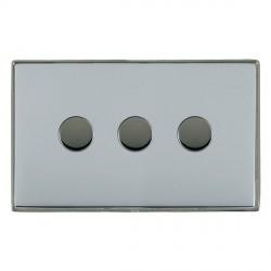 Hamilton Linea-Duo CFX Black Nickel/Bright Steel Push On/Off 250W/VA Dimmer 3 Gang Multi-way Trailing Edge with Black Nickel Insert