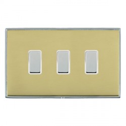 Hamilton Linea-Duo CFX Bright Chrome/Polished Brass 3 Gang Multi way Touch Master Trailing Edge with Whit...