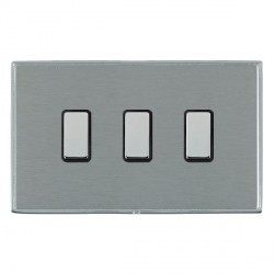 Hamilton Linea-Duo CFX Bright Chrome/Satin Steel 3 Gang Multi way Touch Master Trailing Edge with Black I...
