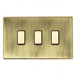 Hamilton Linea-Duo CFX Polished Brass/Antique Brass 3 Gang Multi way Touch Master Trailing Edge with Black Insert