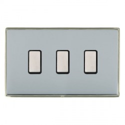 Hamilton Linea-Duo CFX Satin Nickel/Bright Steel 3 Gang Multi way Touch Master Trailing Edge with Black Insert