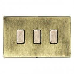 Hamilton Linea-Duo CFX Antique Brass/Antique Brass 3 Gang Multi way Touch Slave Trailing Edge with Black ...