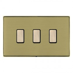 Hamilton Linea-Duo CFX Antique Brass/Satin Brass 3 Gang Multi way Touch Slave Trailing Edge with Black Insert