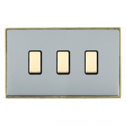 Hamilton Linea-Duo CFX Polished Brass/Bright Steel 3 Gang Multi way Touch Slave Trailing Edge with Black ...
