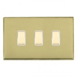 Hamilton Linea-Duo CFX Polished Brass/Polished Brass 3 Gang Multi way Touch Slave Trailing Edge with Whit...